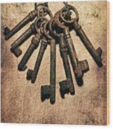 Set Of Old Rusty Keys On The Metal Surface Wood Print