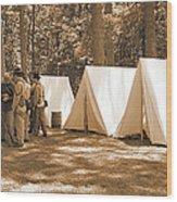 Settin Up Camp Wood Print