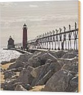 Setting Spring Sun In Grand Haven Wood Print