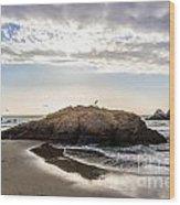 Setting Sun Against Rocks Near San Francisco Ca Cliff House Wood Print