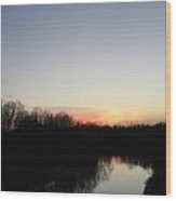 Setting Sun Beyond The Red River Wood Print