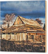 Setting Sun Gathering Storm And Old Homestead Wood Print