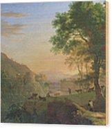 Setting Sun, Italy Oil On Canvas Wood Print