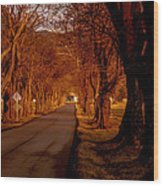 Setting Sun On Country Road Wood Print