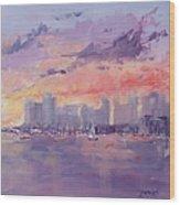 Setting Sun Over Boston  Wood Print by Laura Lee Zanghetti