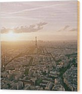Setting Sun Over Paris Wood Print