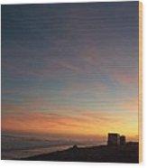 Setting Sun Over The Dunes Wood Print
