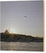 Setting Sun Over Istanbul Wood Print