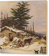 Settler's Log House Wood Print