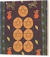 Seven Of Pentacles Wood Print