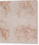 Seven Studies Of Grotesque Faces Wood Print