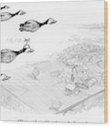 Several Geese Fly In A V-formation Wood Print