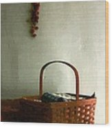 Sewing Basket In Sunlight Wood Print
