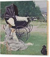 Sewing In The Sun, 1913 Wood Print