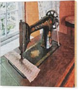 Sewing Machine Near Lace Curtain Wood Print