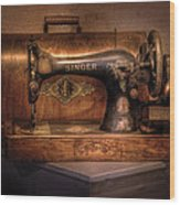 Sewing Machine  - Singer  Wood Print by Mike Savad