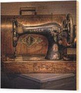 Sewing Machine  - Singer  Wood Print by Mike Savad