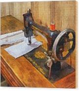 Sewing Machine With Orange Thread Wood Print