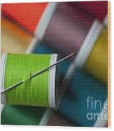 Sewing Needle With Bright Colored Spools Wood Print