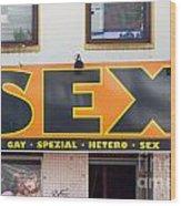 Sex Shop Sign Hamburg Wood Print by Jannis Werner