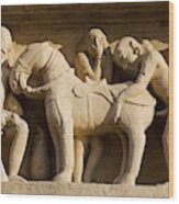 Sex with horse, sculpture on Lakshmana Temple. Khajuraho. Madhya Pradesh, India Wood Print