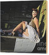 Sexy 1940s Style Pin-up Girl Sitting Wood Print by Christian Kieffer