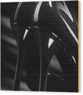 Sexy Black High Heel Shoes Closeup Wood Print