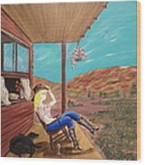 Sexy Cowgirl Sitting On A Chair At High Noon Wood Print