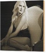 Sexy Fine Art Blond Girl In Chair 1285.01 Wood Print