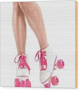 Sexy Girl Legs In White Pink Roller Skates Wood Print