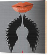 Sexy Lady Bird Lips Red White Black Expressions Wood Print