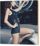 Sexy Mechanic Girl Posing With Cars Wood Print