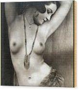 Sexy Nude Dark Green Border  Wood Print