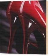 Sexy Red High Heel Shoes Closeup Wood Print by Oleksiy Maksymenko