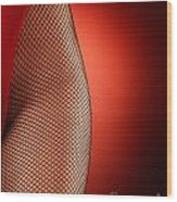 Sexy Woman Hips In Fishnet  Wood Print