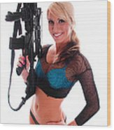 Sexy Woman Holding An Ar15 Wood Print