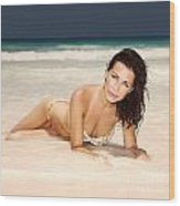 Sexy Woman Lying Down On The Beach Wood Print