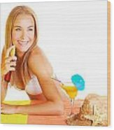 Sexy Woman Using Sunscreen Wood Print
