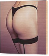 Sexy Woman Wearing Stockings With Suspenders Closeup Wood Print