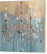 Shabby Chic Cottage Sparkling White Crystal Chandelier Photo - Dreamy Parisian Crystal Chandelier  Wood Print