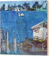 Shack On The Bay Wood Print