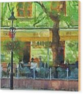 Shaded Cafe Wood Print