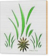 Shades Of Green Leaves And Green Flower Design Wood Print