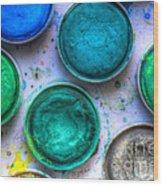 Shades Of Green Watercolor Wood Print