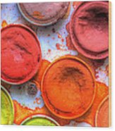 Shades Of Orange Watercolor Wood Print by Heidi Smith