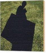 Shadow Carrying Art Portfolio And Drinking A Soda Wood Print