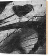 Shadow Heart Rough Charcoal Wood Print