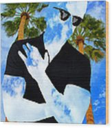 Shadow Man Palm Springs Wood Print