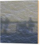 Shadow Of People Standing On The Bridge Over The River Main In Frankfurt Am Main Germany Wood Print