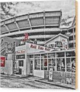 Shadow Of The Stadium Wood Print by Scott Pellegrin